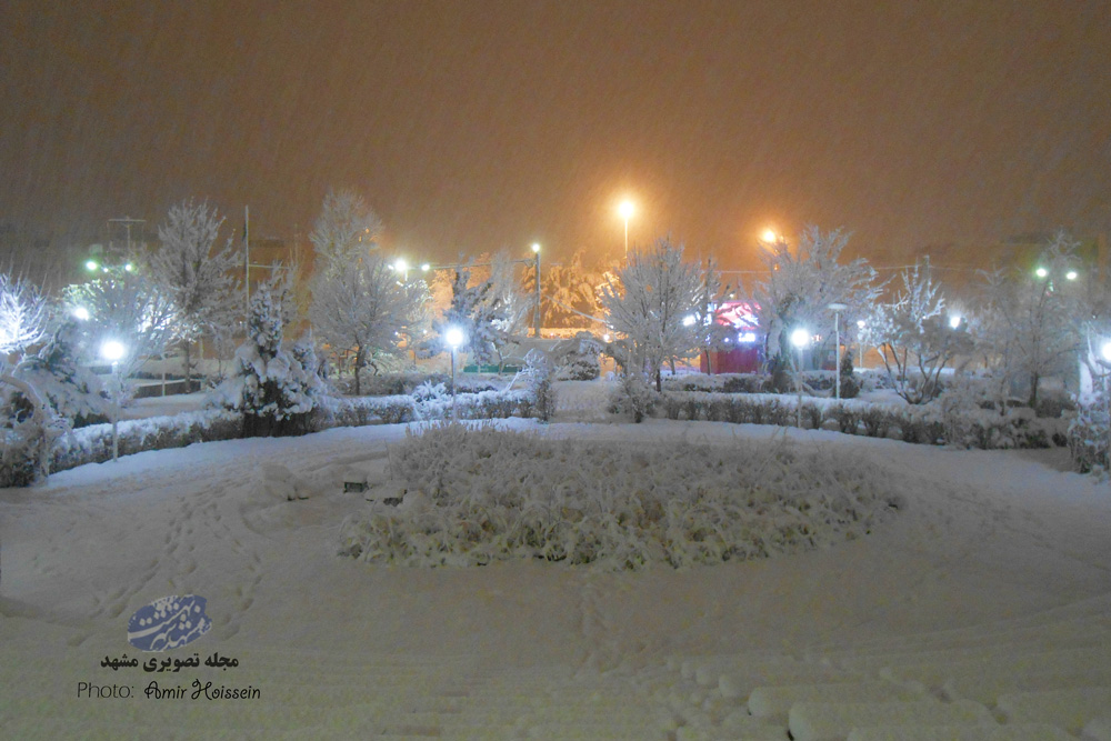 شب برفی در الهیه مشهد