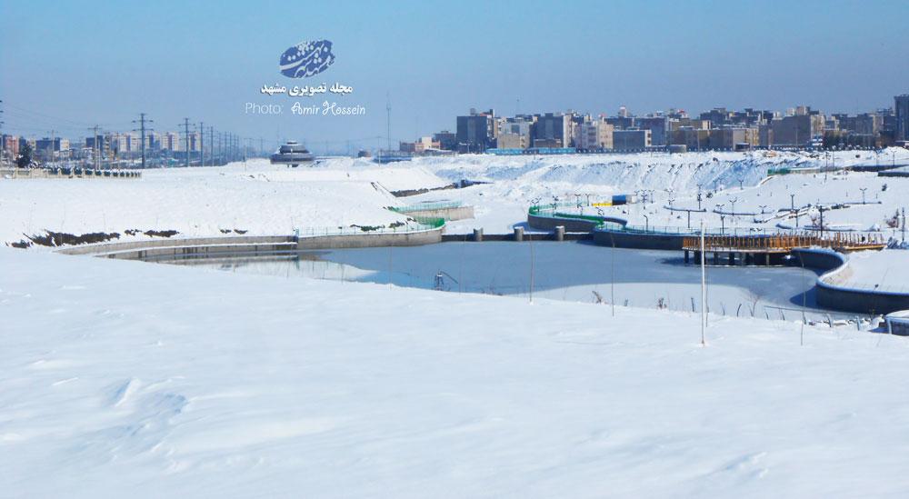 روز برفی دریاچه مشهد