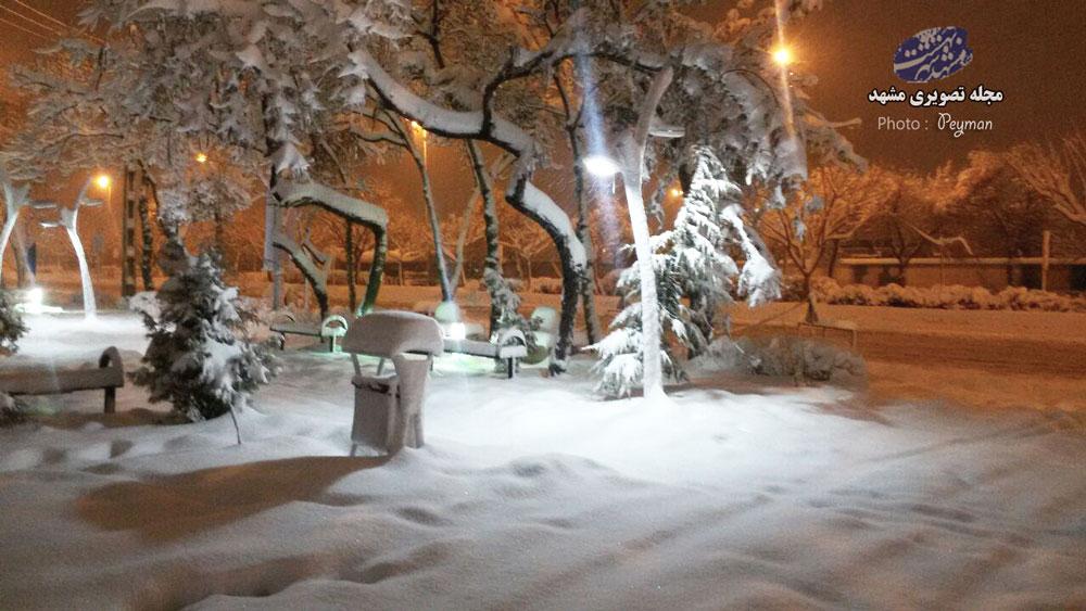 طوفان برف در راه اهن مشهد