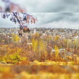 طبیعت پاییزی طرقبه در یک روز بارانی